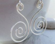 Hammered Earrings Spiral Earrings Silver Textured Swirl Earrings Wire Wrapped Earrings Metal Earrings Fashion Accessories Jewelry Gifts
