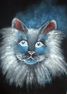 Acryl auf Velour Painting, Fictional Characters, Watercolor, Cats, Painting Art, Paintings, Paint, Draw, Fantasy Characters