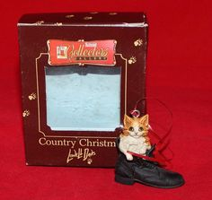 Schmid Country Christmas - Lowell Davis - CAT Christmas Ornament 1984 w/Box | eBay