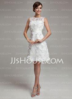 Sheath/Column Scoop Neck Knee-Length Organza Satin Wedding Dress With Feather