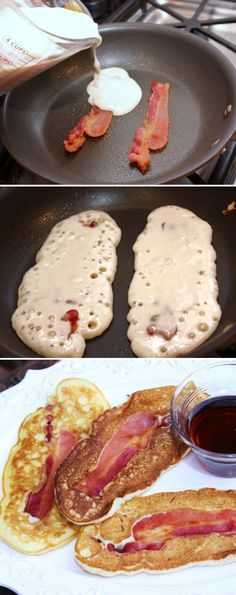 Pancake Wrapped Bacon Dippers ~ whip up your favorite pancake batter and simply pour it over already cooked bacon