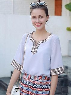 Shop Blue Tribal Embroidery Half Sleeve Blouse from choies.com .Free shipping Worldwide.$21.9