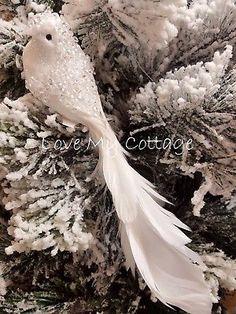 WHITE Feather Clip On Bird Decorative XMAS Wedding Tree Decoration Vintage Jewel