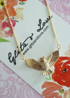Flying Owl pendant on gold plated chain. ✦ Owl Pendant: 25 mm x 15 mm ✦ Length: 16.5 inch + 2 inch extender ✦ Please let me know your EVENT date when you check out. ✦ Beautifully gift wrapped in gift box with ribbon. Perfect to keep or give. ✦ Thank you for visiting / shopping at Glitz & Love! http://www.glitzandlove.etsy.com ------------------------------------ ✻Please Note✻ ------------------------------------ ⁕ International shipping: at least 14 - 20 WORKING days to deliver. ⁕ Arrive...