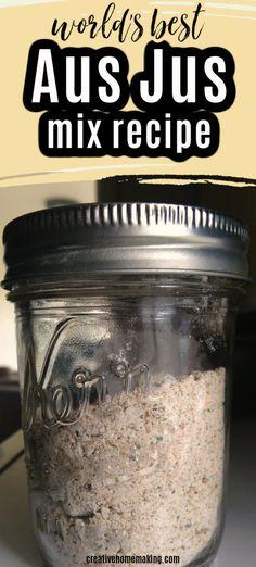 Homemade Dry Mixes, Homemade Spices, Homemade Seasonings, Au Jus Recipe, Recipe Mix, A Jus Sauce Recipe, Sauce Recipes, Beef Recipes, Spice Mixes