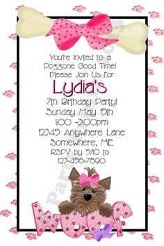 female pet birthday party invitation  birthday party invitations, invitation samples
