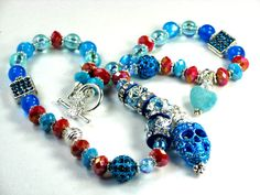 Turquoise Blue/Caramel Brown Skull Necklace, NEW Pave Crysta  l square beads & sterling Silver Plated Intricate Filigreed Bead Caps, AMAZING by Chris of  PurseCharming7, $28.00