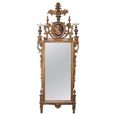 Late 18th Century Neoclassical Roman Mirror | From a unique collection of antique and modern wall mirrors at http://www.1stdibs.com/furniture/mirrors/wall-mirrors/