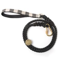 Found My Animal Black and White Plaid Rope Dog Leash