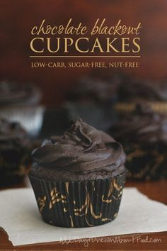 Amazing low carb dark chocolate cupcakes that are also nut-free. Made with sunflower seed flour! The rich sugar-free chocolate frosting is to die for.