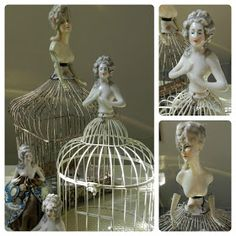 I've got a thing for pincushion dolls.especially the Marie Antoinette and Madame Pompadour ones. Antique Dolls, Vintage Dolls, Porcelain Dolls Value, Half Dolls, China Dolls, Bird Cages, Assemblage Art, Vintage Crafts, Doll Head