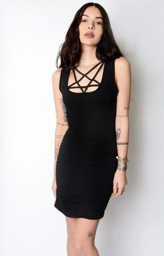 PENTAGRAM cut-out collar black mini dress! Fully lined and professionally made with pentacle lacing..