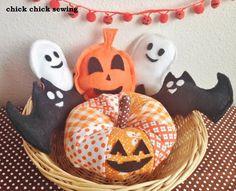 chick chick sewing: Celebrating Halloween with patchwork fabric pumpkin❣ ハッピーハロウイーン♪ パッチワークの布かぼちゃ作りました