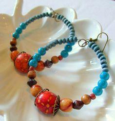 Beautiful Bohemian Hoop Earrings Blue Red Yellow by stoneandbone, $23.95