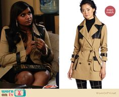 Mindy will be wearing this trench coat with leather panels on The Mindy Project this week, it is still available from $201 http://wornontv.net/10236