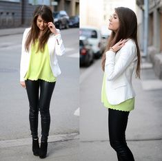 mariannan white jacket with neon top and black pants