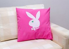 Decorative pillow case of  Playboy bunny hand by ThePillowWorld