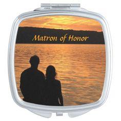 Tropical Beach Sunset Wedding Matron of Honor Vanity Mirrors