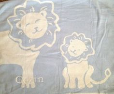 POTTERY BARN KIDS LION JACQUARD STROLLER BLANKET NEW GAVIN BLUE ANIMAL BABY BOY