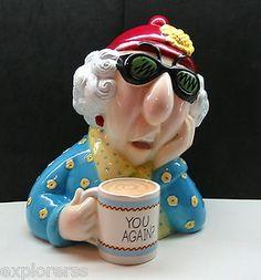 Colorful Hand Painted Glazed Ceramic Maxine Cookie Jar Signed Piece Must See Antique Cookie Jars, Vintage Cookies, Coffee Cafe, Coffee Drinks, Cute Cookies, Kawaii, Lol, Glazed Ceramic, Coffee Break