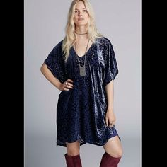 ⛔️LOWEST PRICE⛔️Free People velvet tunic dress A burnout velvet print details this drapey shift dress that features an oversized fit, elbow-length sleeves, a V neckline, and hi-low hem. 129j299  Retail: $198 Size: Small  ❤I have over 300 new with tag Free People items for sale! I love to offer bundle discounts!  ❤No trades. love the item but not the price? Submit an offer! Free People Dresses Mini