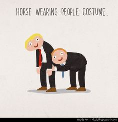 horse wearing people costume