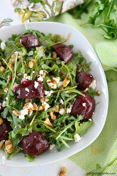 Balsamic Beet Salad with Arugula, Goat Cheese, and Walnuts Love beets roasted as well.