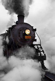 Essex Steam Train ~ leaving Essex Station in a cloud of steam. Essex, CT