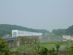 The Freedom bridge and railroad bridge with crosses the Imjin river