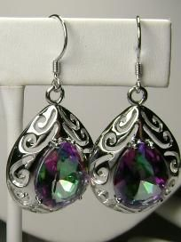 free shipping & 1 Photon gifted ~Huge~12 carat Mystic topaz earring in 925 sterling silver