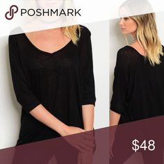 🌺COMING SOON🌺 Basic black v-neck 3/4 sleeve top. PRICE WILL DROP 🌺COMING SOON🌺 NWT BOUTIQUE🌺 Great basic black top with 3/4 sleeve. Super soft rayon blend knit.  Full coverage. Wear with leggings, jeans or any favorite piece.  LIKE TO WHEN AVAILABLE🌺 Tops Tees - Short Sleeve