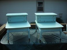 A pair of 2 step end tables that were maple.  No one wants maple any more.