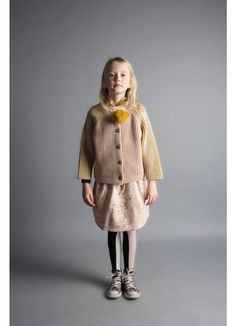 Kid Knitted Cardigan + Fleece Skirt + Tights - Bobo Choses