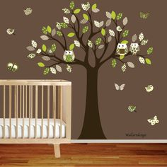Children wall decal Wall Sticker tree decal - pattern leaf tree - with owls birds butterflies on Etsy, £60.76