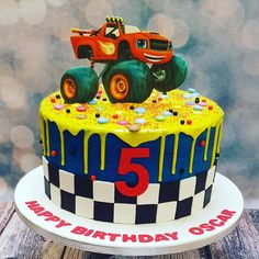 55 New Ideas For Blaze Monster Truck Cake – birthdaycakeideas Torta Blaze, Bolo Blaze, Blaze Cakes, Blaze Birthday Cake, Monster Truck Birthday Cake, 4th Birthday Cakes, Birthday Ideas, Blaze And The Monster Machines Cake, Truck Cupcakes