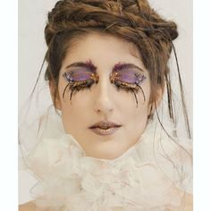 My entry for the NYX Italia Face Awards #nyxitalia #nyxfaceawards #nyxitaliafaceawards #makeup #makeupartist #hairstylist #messybraids #tulle #gold #goldlashes #stones #strass #purplemakeup #fakelashes #falselashes #goldenqueen #ruff @nyxcosmetics_italy
