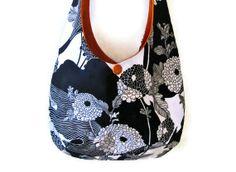 """Sling Purse flower hobo bag black white orange slouch shoulder market designer tote """"Yoko"""" MADE TO ORDER"""