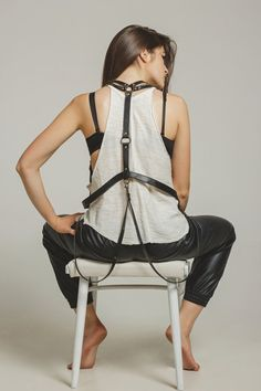 Black leather body harness leather harness Night Out by BohoMantra