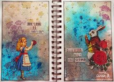 Long is Forever? ~ Alice Art Journal Page Scattered Pictures and Memories: How Long is Forever? ~ Alice Art Journal PageScattered Pictures and Memories: How Long is Forever? ~ Alice Art Journal Page Kunstjournal Inspiration, Art Journal Inspiration, Journal Ideas, Disney Kunst, Disney Art, Art Journal Pages, Art Journals, Gcse Art Sketchbook, Sketchbook Ideas