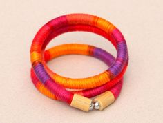 Fabric wrap bracelet colorful cotton wrapped rope by MyBeata