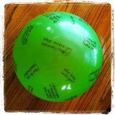 get to know you game   question ball -- Would be great for a Youth Group game getting them involved in a topic of the night.