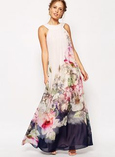 Elegant Sleeveless Floral Printed Maxi Evening Dress
