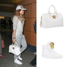 Superstar Jennifer Lopez was totally eye-catching sporting a white #Versace Palazzo bag and a pair of Versace Palazzo sneakers at LAX airport. #VersaceCelebrities #VersacePalazzoBag