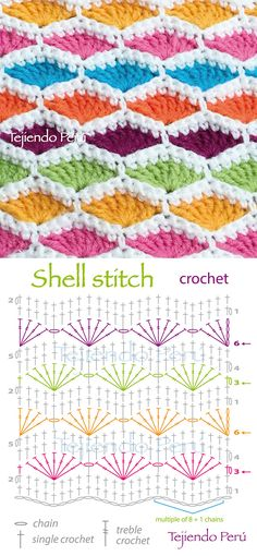 Shell Stitch - Free Crochet Diagram - (youtube)