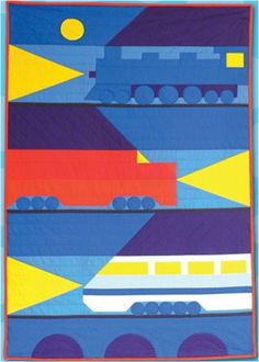 """Night Trains"", child's quilt pattern, 38 x 54"" by Rebecca Ruth Designs.  very mod !"
