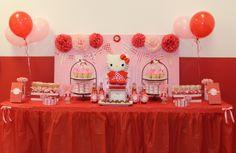 Dessert table at a Hello Kitty party #hellokitty #partytable