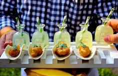 Fun wedding cocktail hour idea - mixed drinks + mini appetizer idea - margaritas and mini tacos {Tim LaBard Catering & Events}