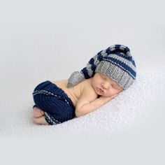 Handmade Newborn Baby Crochet Stocking Cap & Pants Set Photography Prop