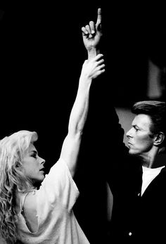 David Bowie and Louise Lecavalier photographed for Nieuwe Revu on July 1, 1988 in London by Anton Corbijn