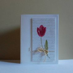 Stamper:  Missro Whisper White panel is stamped with SU's French Script in River Rock. I used the medium tulip from SU's Terrific Tulips and stamped it in Raspberry Ripple and Primrose Petals. The leaf and stem are stamped in Old Olive and Pear Pizzazz. The tulip panel was mounted with dimensionals.